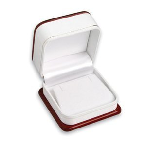 """PREMIUM Luxury Wooden Mahogany Rosewood Color Large Earring Gift Box - Dimensions: 3"""" x 3"""" x 1 7/8""""H"""