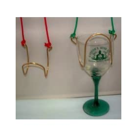 Wine Glass Necklace with Colored Cord Brass