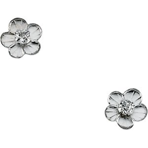 Genuine IceCarats Designer Jewelry Gift 14K White Gold Youth Daisy With Cz Earri. Pair 05.75 Mm;P;Childrens Daisy With Cz Earrings Youth Daisy With Cz Earri In 14K White Gold