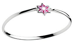 Girls Jewelry - Sterling Silver Pink Enameled Stripe Star Bangle