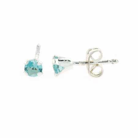 Sterling Silver 4mm Round Blue Topaz Stud Earrings