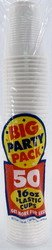 Amscan Big Party Pack 50 Count Plastic Cups, 16-Ounce, White