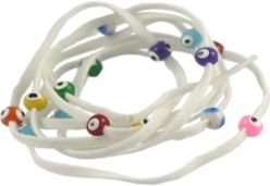 Lucky Charms USA Evil Eye Lucky String Wrap Bracelet Anklet with Colorful Lucky Eyes - Purity White
