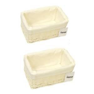2x 100% Respectueux de l'environnement Panier de rangement en osier blanc avec chiffon-Petit par Arpan
