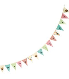 Moda Home Vintage Reproduction Happy Birthday Cupcake Banner