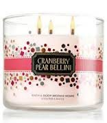 Bath & Body Works CRANBERRY PEAR BELLINI candle 14.5 oz 3 wick New Year confetti label