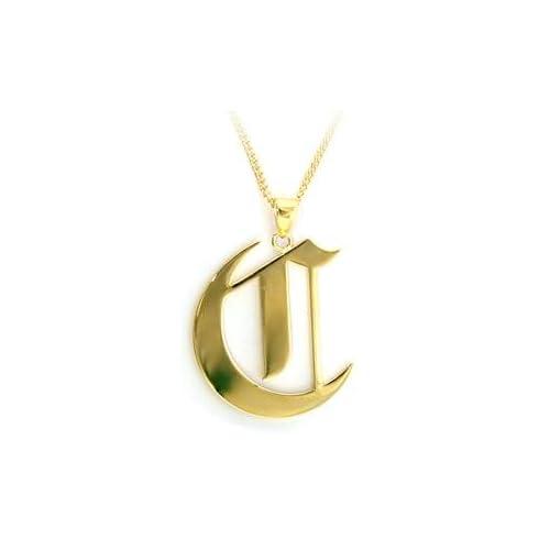 amazoncom old english letter c brass gold pendant With old english letter pendants