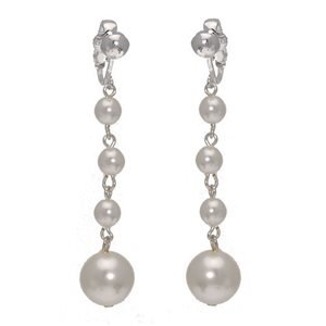 Martinique Silver White Pearl Clip On Earrings