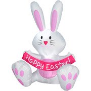 Easter Bunny Rabbit Airblown Inflatable Almost 4 Feet Tall By Gemmy White & Pink front-938324