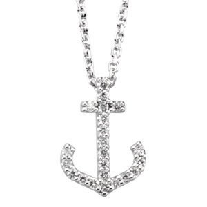 Genuine IceCarats Designer Jewelry Gift 14K White Gold Diamond Anchor Necklace. 1/8 Ct Tw Diamond Necklace Diamond Anchor Necklace In 14K White Gold