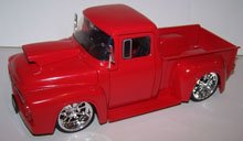 Jada Toys 1/24 Scale Btm 1956 Ford F-100 with Hood Scoop in Color Red