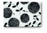 Citta Design 'Kiku' Rectangular Placemats, Ink Black, Set of Four High Grade Polymer Placemats, 18x12 inches