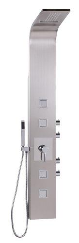WL2.007 Edelstahl Massage Duschpaneel 160 cm, Regendusche und Duschsäule 114 Düsen mit Wasserfall