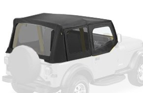 Bestop 79123-01 Black Sailcloth Replace-A-Top Soft Top With Tinted Windows And Upper Door Skins For 88-95 Wrangler Yj