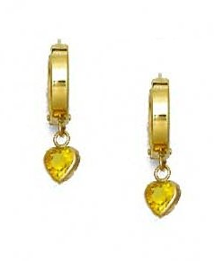 14ct Yellow Gold 5 mm Heart Yellow CZ Drop Hinged Earrings