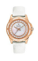 Bulova Diamond Collection White Mother-of-Pearl Dial Women's Watch #98P119