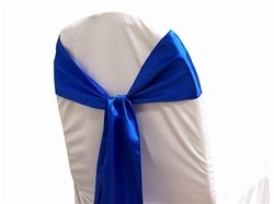 MDS Pack of 100 satin chair sashes bow for wedding and Events Supplies Party Decoration chair cover sash -Royal Blue