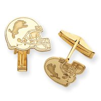 14K Detroit Lions Helmet Cuff Links - JewelryWeb