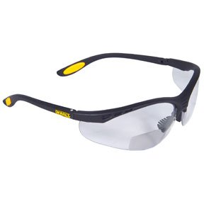 Dewalt DPG59-125C Reinforcer Rx-Bifocal 2.5 Clear Lens High Performance Protective Safety Glasses with Rubber Temples and Protective Eyeglass Sleeve