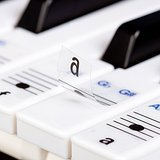 Keysies Transparent Plastic Removable Piano and Keyboard Note Stickers - Plus Handy Placement Guide.