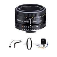 Nikon 50mm f/1.8D AF Standard Auto Focus Nikkor Lens Kit – Gray Market – with Tiffen 52mm UV Filter, Lens Cap Leash, Professional Lens Cleaning Kit