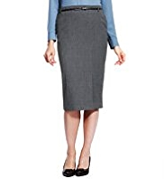 M&S Collection Front Slit Long Length Pencil Skirt with Belt