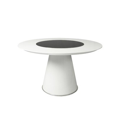 Cheap Taranto Dining Table with Black Glass Top Insert with Monaco Side Chair in Chrome Upholstered in Ivory (TO-515-WL)