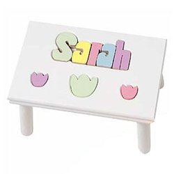 Personalized Tulip Puzzle Stool from Ababy