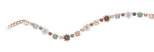 Israeli Amaro Jewelry Studio 'Flow' Collection Necklace with Flower Links Set with Amazonite, Blue Lace Agate, Mother of Pearl, Pink Quartz, Variscite, Swarovski Crystals; 24K Rose Gold Plated