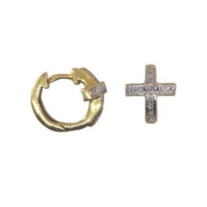 Genuine Diamond Cross Earrings 14k Yellow Gold Plate on Sterling Silver Huggies Click Close