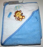 Luvable Friends Hooded Bath Towel Blue/White with Monkey