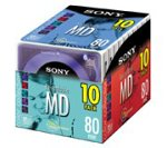 Sony 10MDW80CL 80 Minute Minidisc Color Collection, 10-Pack