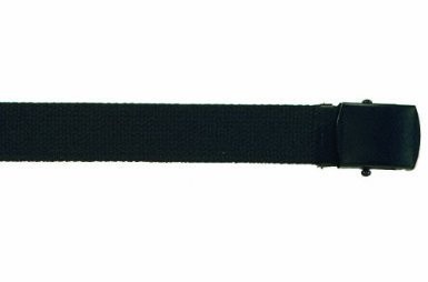 """Army Camouflage Solid Color Military Web Belt (Black - Black Buckle, 54"""")"""