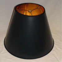 Black Parchment Empire Lampshade with Gold Foil Lining - 8