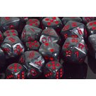 Chessex Polyhedral 7-Die Velvet Dice Set - Black With Red 27478