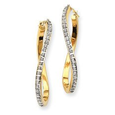 14k Rough Diamond Fascination Oval Twist Hinged Hoop Earrings - JewelryWeb