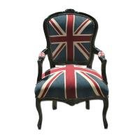 STUNNING FRENCH LOUIS SHABBY CHIC UNION JACK CHAIR silver