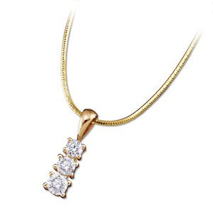 Genuine IceCarats Designer Jewelry Gift 14K Yellow Gold Diamond Three Stone Pendant W/Chain