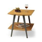 Cheap Chai End Table with Gunmetal Legs (Caramel and Black) (21.75″H x 22″W x 20.5″D) (CHAI-01M)
