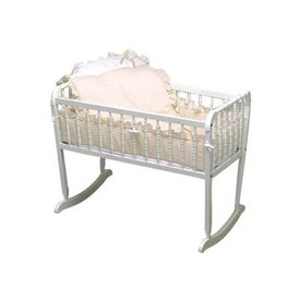 Pretty Pique Cradle Bedding - Ecru - Size 18X36 back-1036489