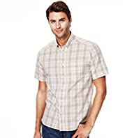 Pure Cotton Easycare Grid Checked Shirt