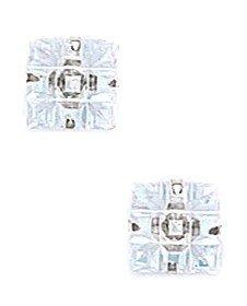 14k White Gold 7x7mm 9 Segment Square CZ Light Prong Set Earrings - JewelryWeb