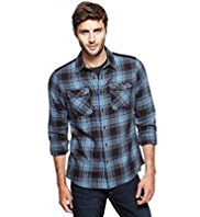 North Coast Pure Cotton Twill Checked Shirt