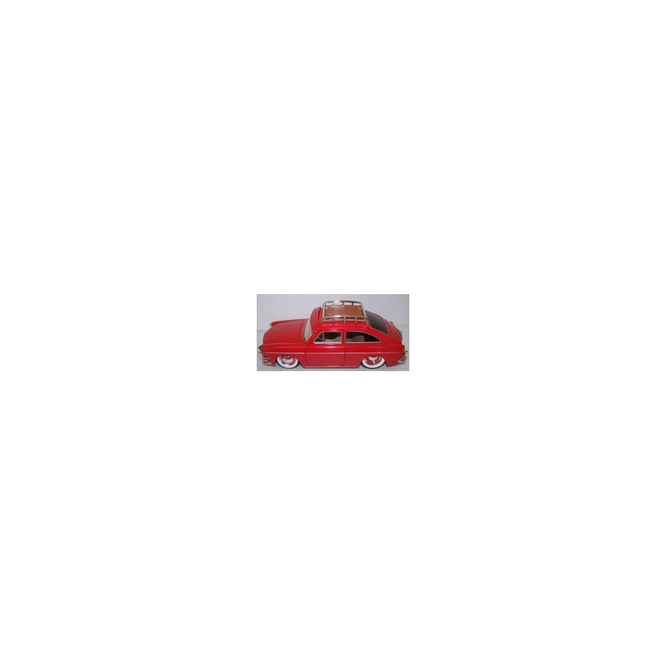 Jada Toys 1/24 Scale Diecast V dubs 1965 Volkswagen 1600 Tl (Fastback) with White Walls in Color Red