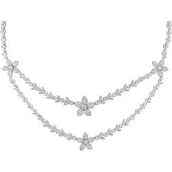 18k Gold 5.3ct TDW Diamond Double Strand Necklace