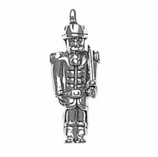 """Sterling Silver 18"""" .8Mm Wide Box Chain Necklace With 3D Toy Soldier Or Nutcracker Holding Sword Military Pendant"""