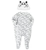 Pure Cotton Zebra Sleepsuit with Hat