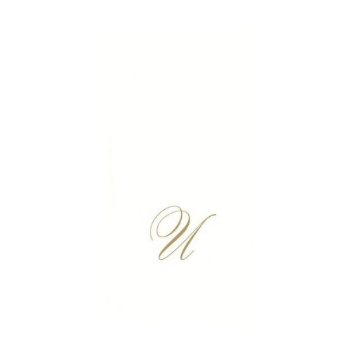 Entertaining With Caspari White Pearl Paper Linen Guest Towels, Monogram Initial U, Pack Of 24 front-14279