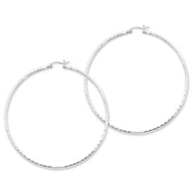 Genuine IceCarats Designer Jewelry Gift Sterling Silver Rhodium-Plated 2Mm Polished Diamond Cut Hoop Earrings