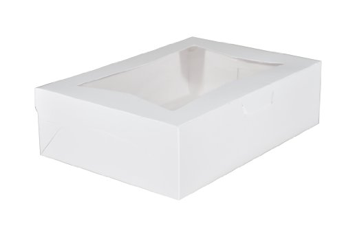 Southern Champion Tray 23093 Paperboard White Lock Corner Window Bakery Box, 14